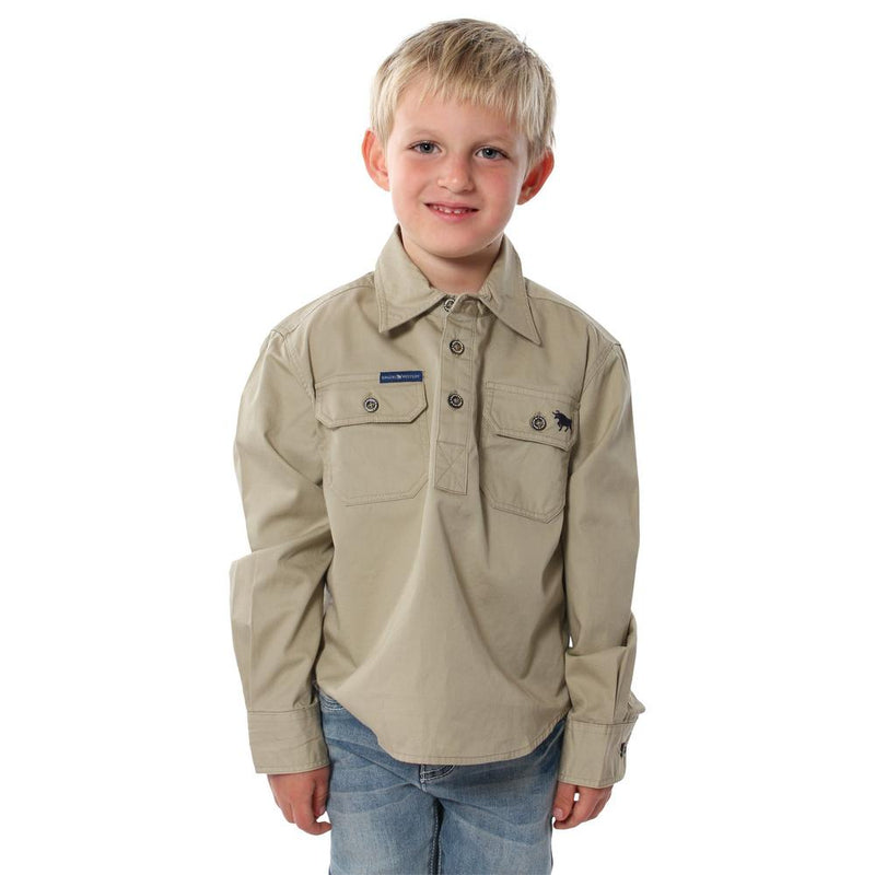 RINGERS WESTERN KIDS HALF BUTTON WORK SHIRT - CAMEL