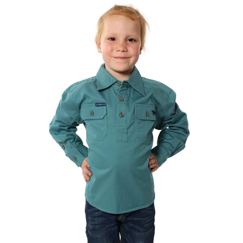 RINGERS WESTERN KIDS HALF BUTTON WORK SHIRT - DUSTY JADE