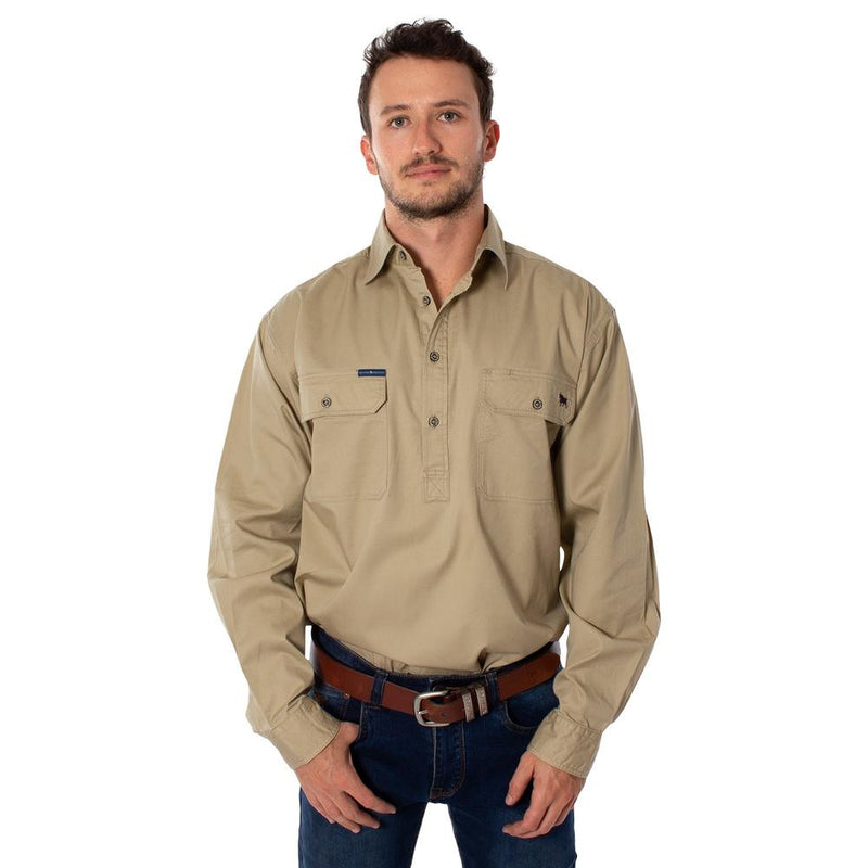 RINGERS WESTERN KING RIVER HALF BUTTON WORK SHIRT - CAMEL