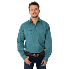 RINGERS WESTERN KING RIVER HALF BUTTON WORK SHIRT - DUSTY JADE