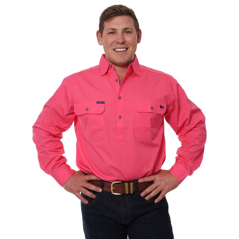 RINGERS WESTERN KING RIVER HALF BUTTON WORK SHIRT - MELON