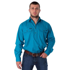 RINGERS WESTERN KING RIVER HALF BUTTON WORK SHIRT - TURQUOISE