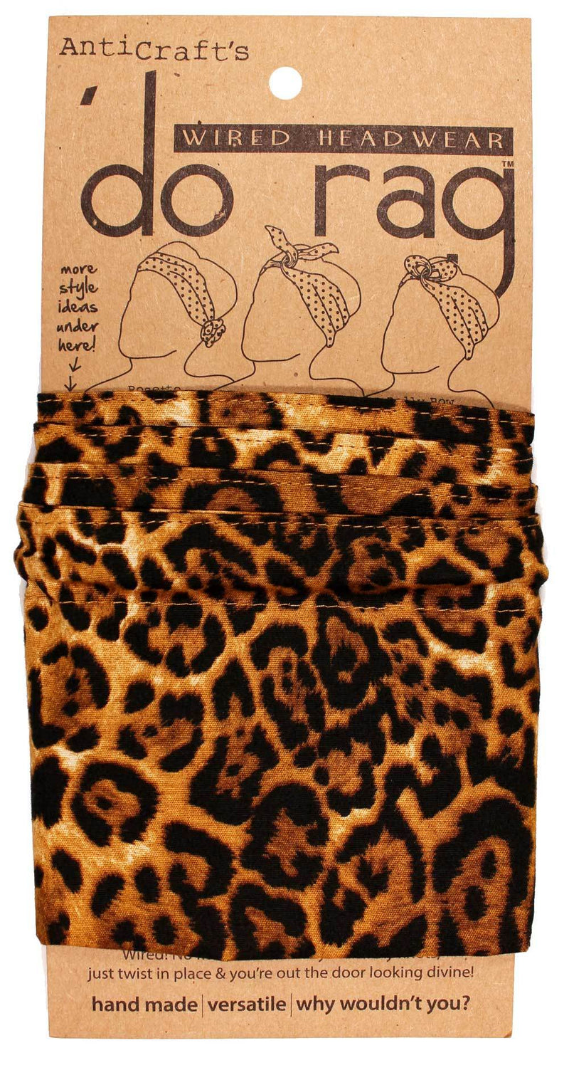 DO RAG/WIRED HEAD WRAP - LEOPARD ANIMAL PRINT BROWN & GOLD