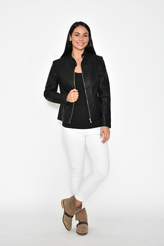 PU LEATHER JACKET - BLACK