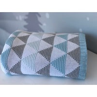 DOUBLE KNIT COT BLANKET - BLUE