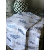 2 LAYER MUSLIN FEATHER WRAP- BLUE