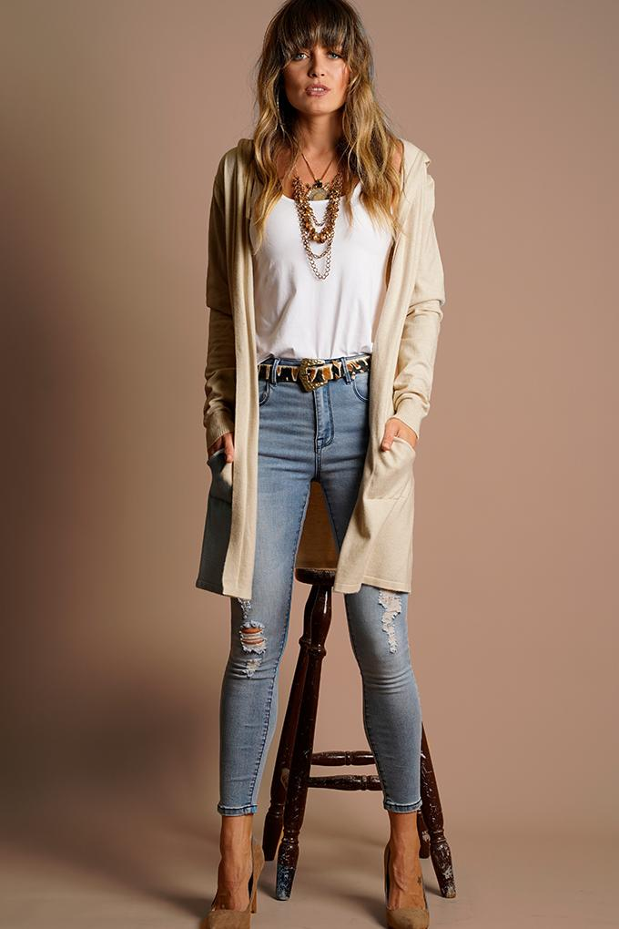 HOODED KNIT CARDI - OATMEAL