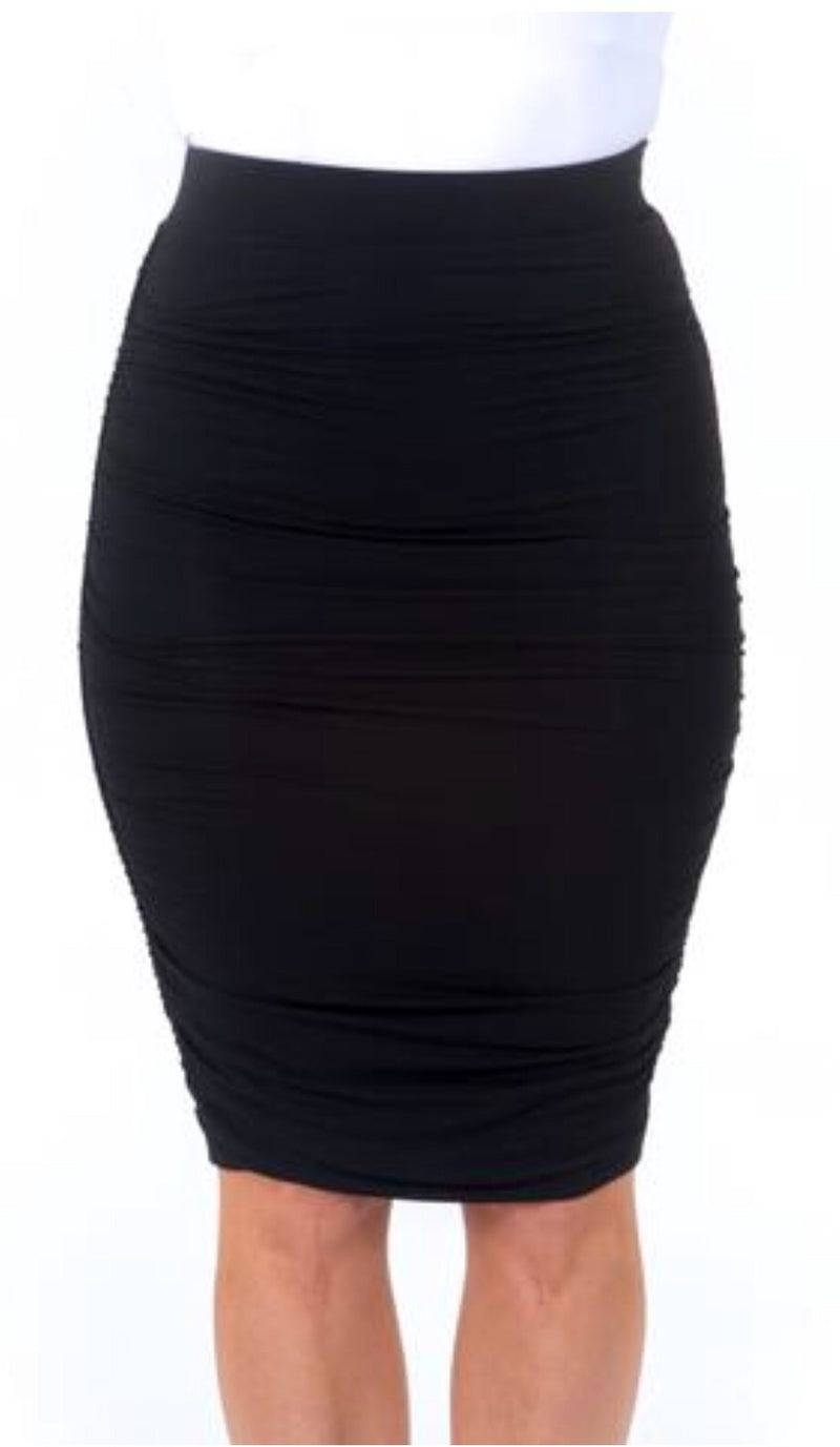 BAMBOO RUCHE SKIRT - BLACK