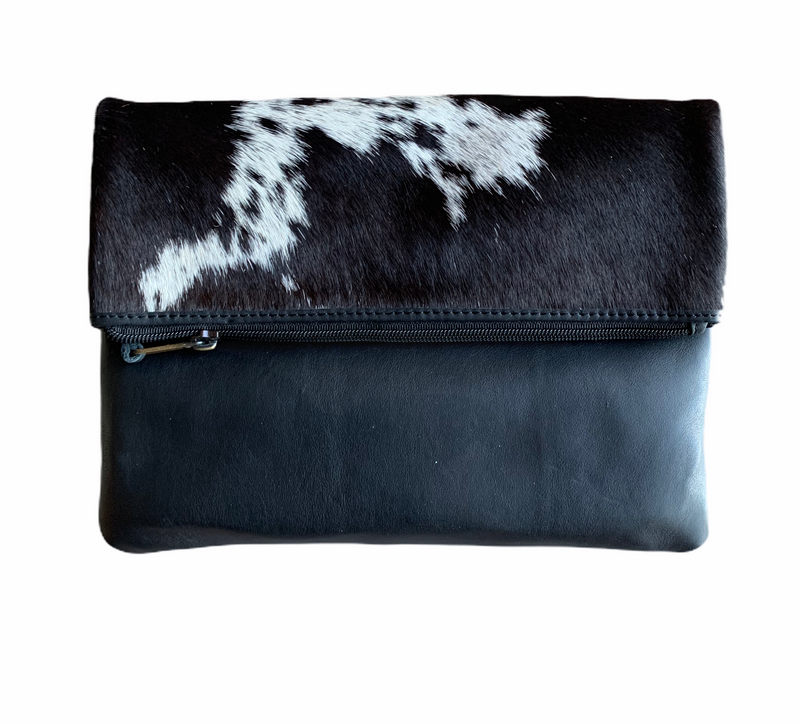 SWEDEN - FOLDOVER COWHIDE BAG - BLACK