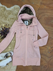 PLUSH LONG LINE HOODIE - DUSTY PINK