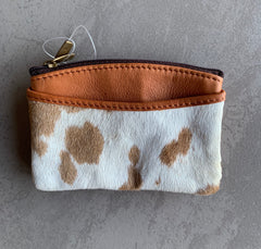 FLORIDA TAN LEATHER & JERSEY HAIRON COIN PURSE