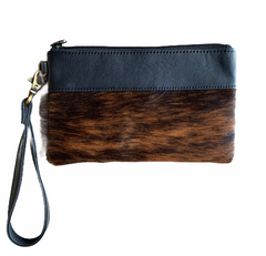 WALES - BLACK LEATHER & BRINDLE HAIRON CLUTCH