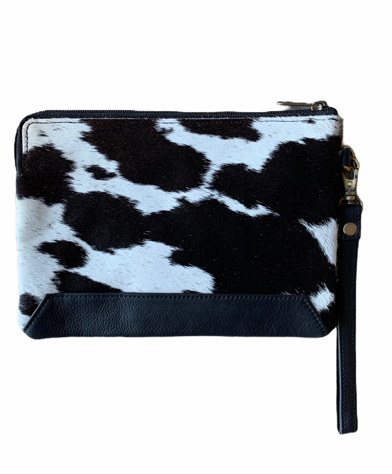 DETROIT - COWHIDE CLUTCH - BLACK