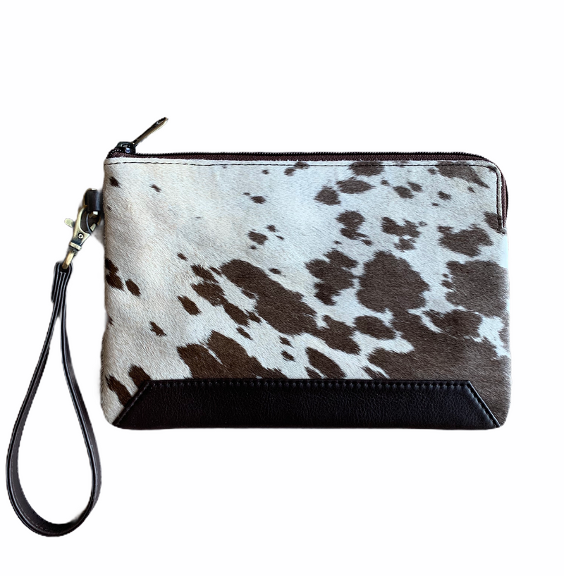 DETROIT - COWHIDE CLUTCH - DARK BROWN LEATHER