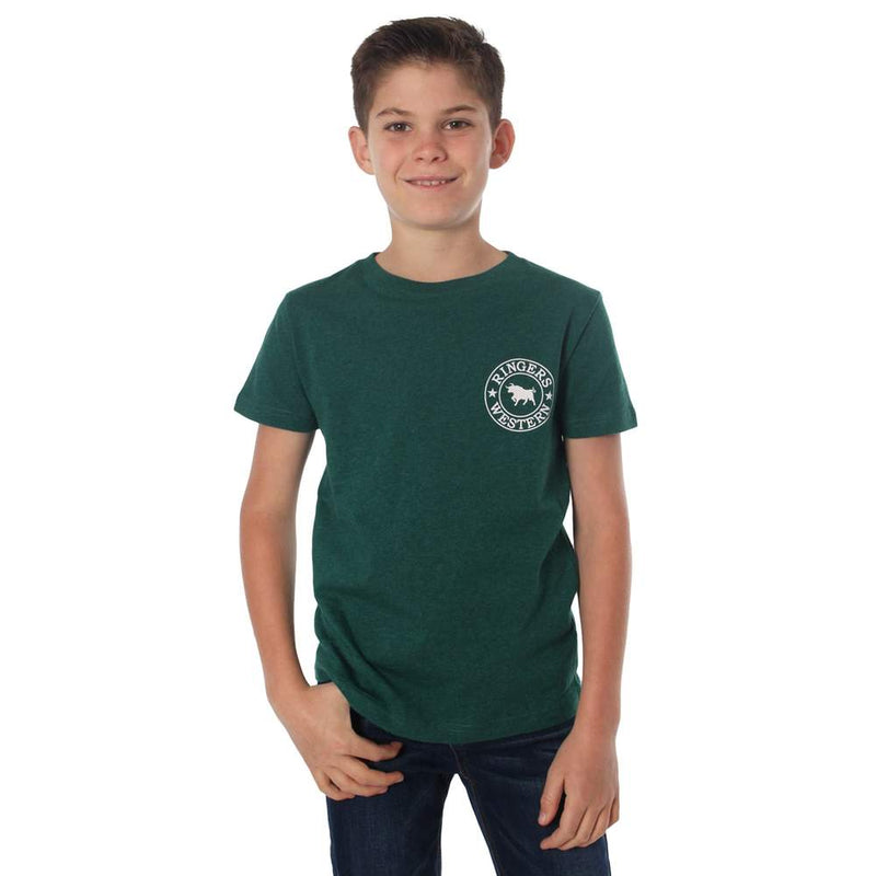 RINGERS WESTERN KIDS SIGNATURE BULL T-SHIRT - EVERGREEN MARLE