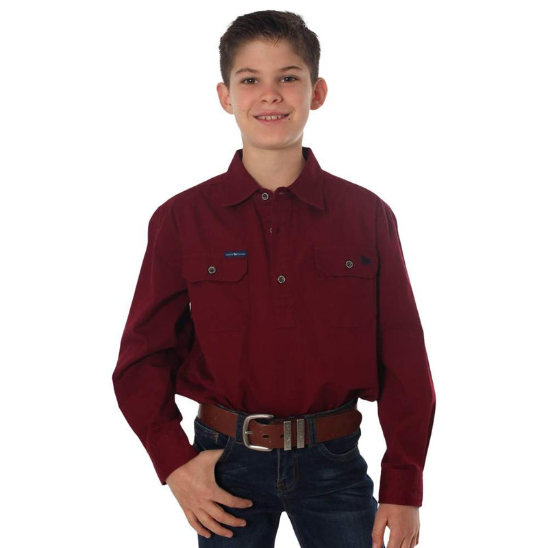 RINGERS WESTERN KIDS HALF BUTTON WORK SHIRT - BURGUNDY
