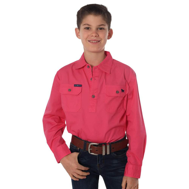 RINGERS WESTERN KIDS HALF BUTTON WORK SHIRT - MELON