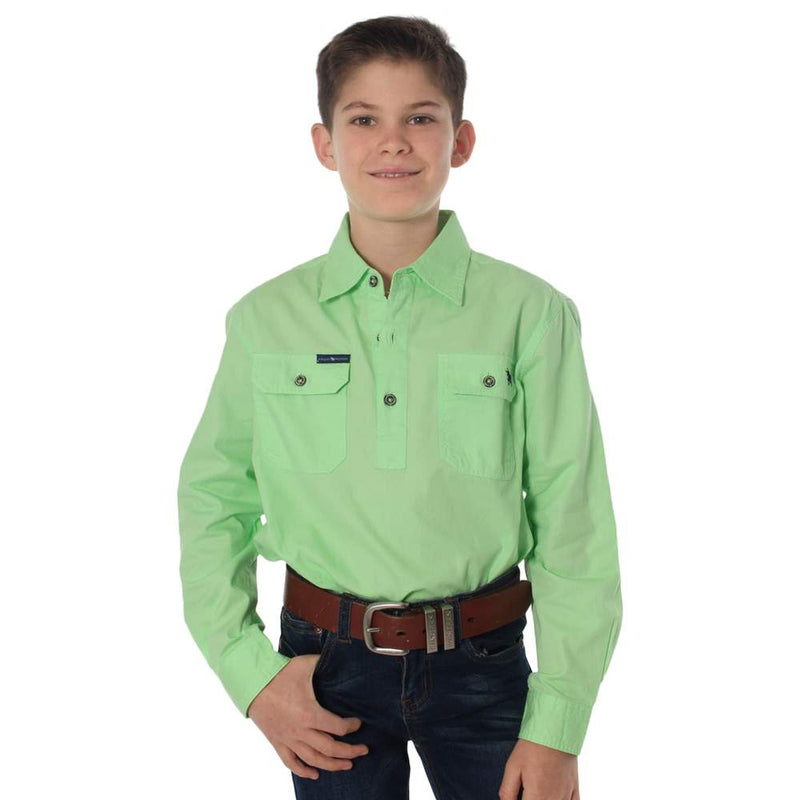 RINGERS WESTERN KIDS HALF BUTTON WORK SHIRT - PISTACHIO