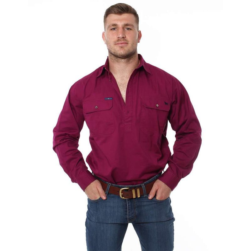 RINGERS WESTERN KING RIVER HALF BUTTON WORK SHIRT - WINE
