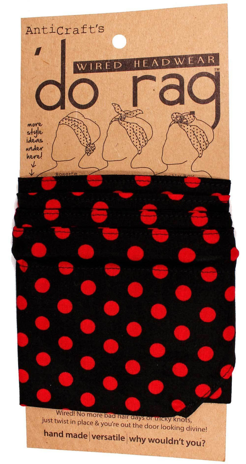 DO RAG/WIRED HEAD WRAP - BLACK WITH RED SPOT