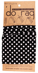 DO RAG/WIRED HEAD WRAP - BLACK WITH WHITE SPOT