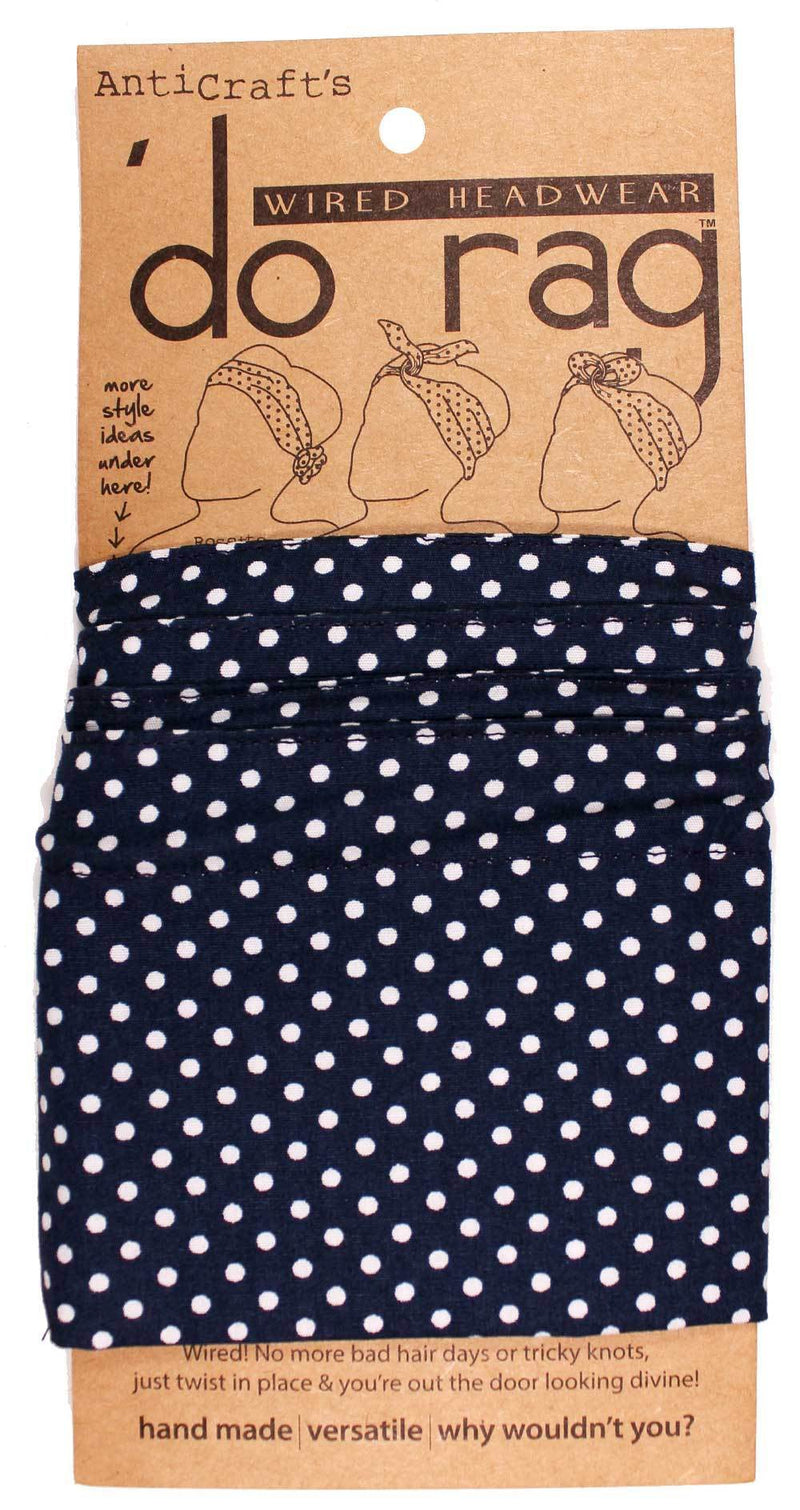 DO RAG/WIRED HEAD WRAP - NAVY BLUE & WHITE SPOT