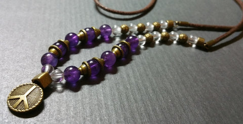 Amethyst mala mens necklace