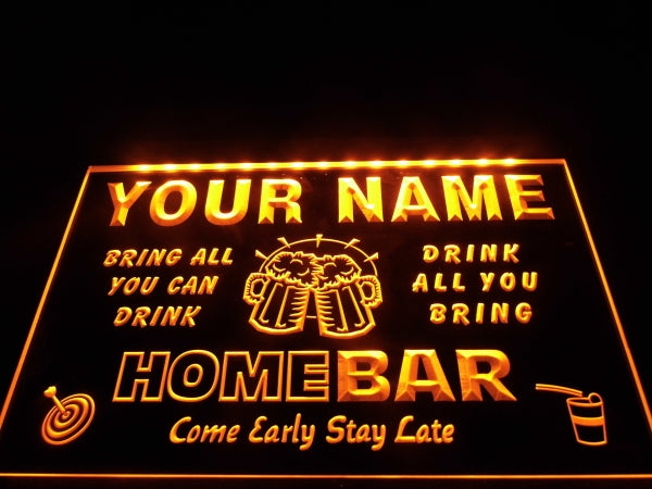 Personalized home bar lighted sign LED lights wall hanging USB plug | Healing stone Handmade Jewelry by AnuanA Craft