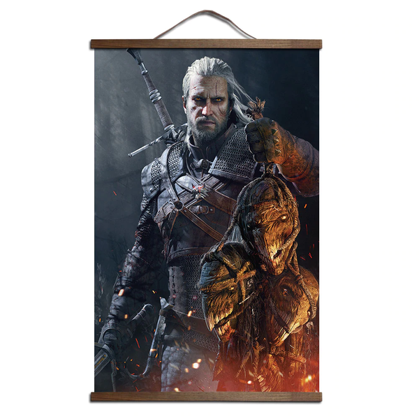 The Witcher 3 picture canvas poster with solid wood hanging