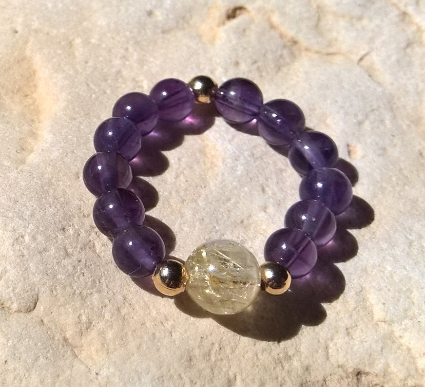 Stone strech ring, Amethyst & Rutilated Quartz stretch ring, natural stone ring bohemian jewelry
