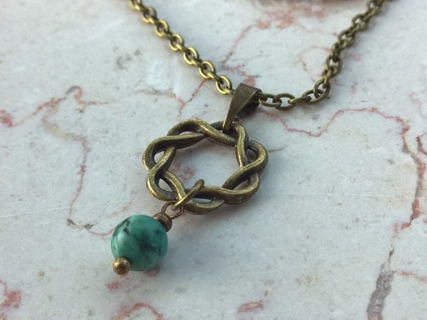 Stone necklace woman, Natural African Turquoise pendant necklace, bronze infinity womens necklace