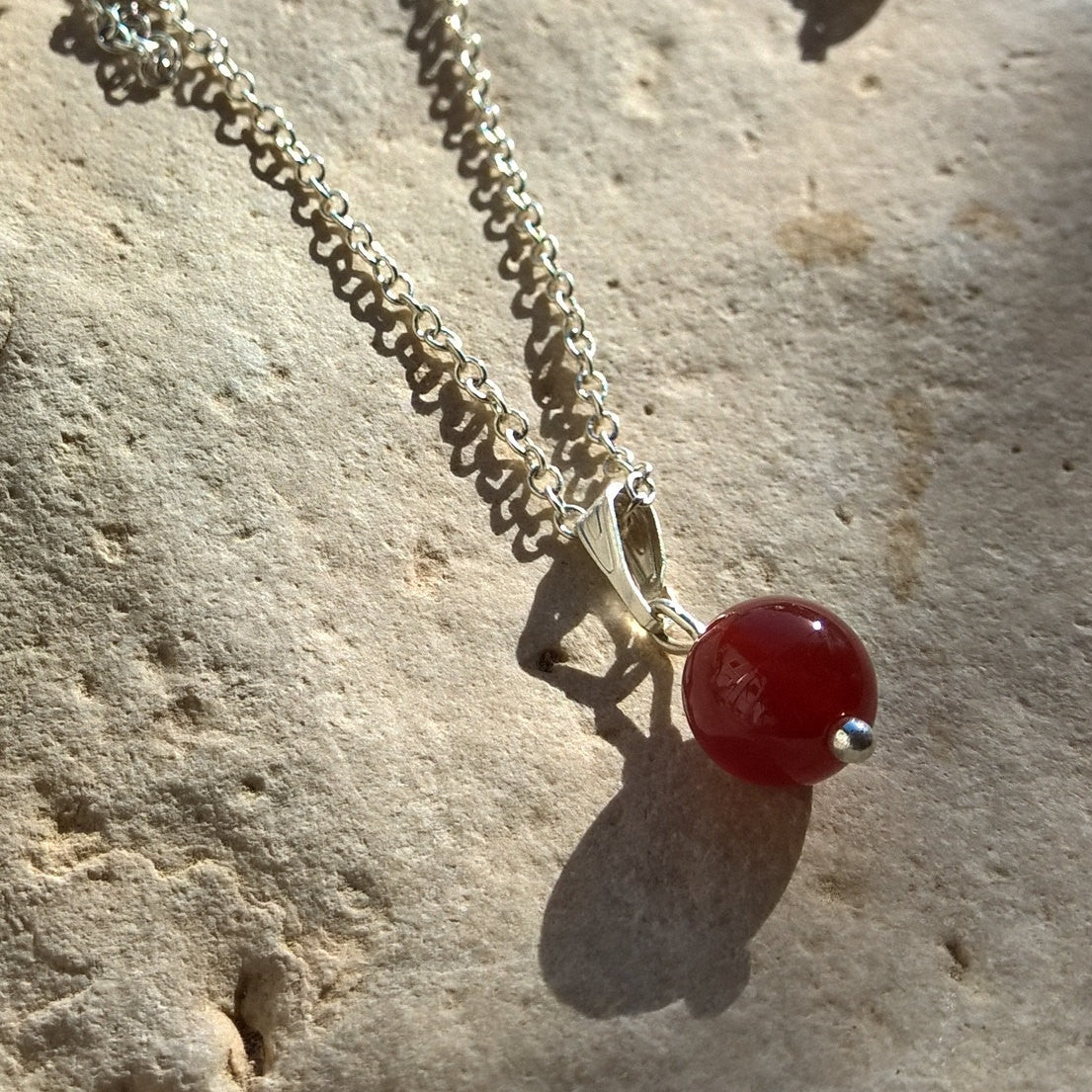 Womens stone necklace ,Carnelian neckace woman, tiny minimalist silver necklace