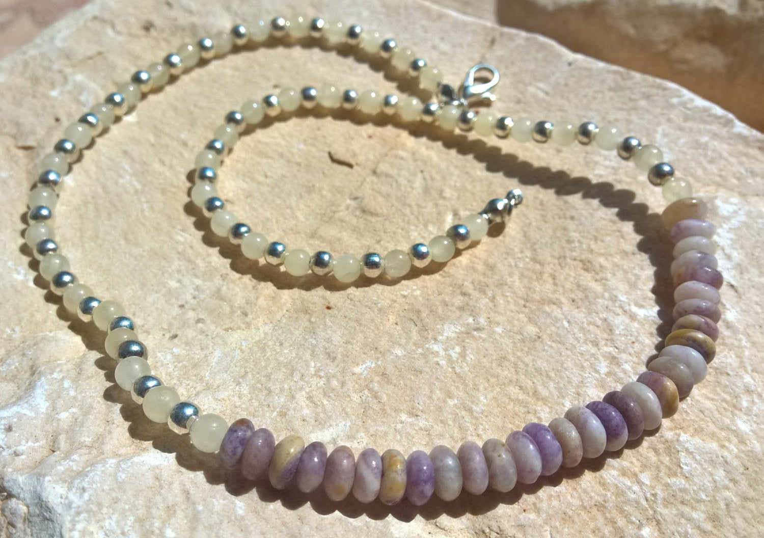 Womens collar necklace stone Mala, Natural Jasper & Jade silver Statement necklace