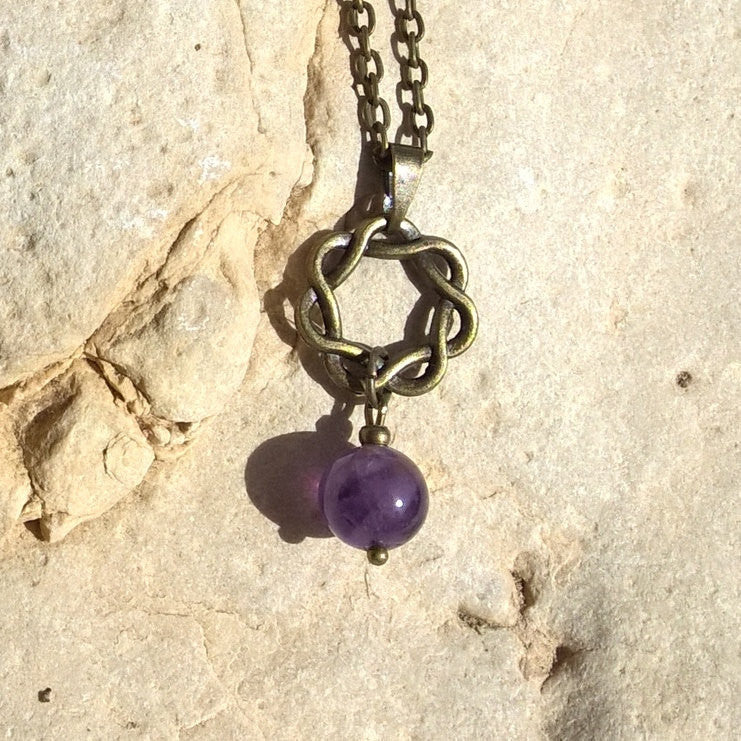 Womens Amethyst Infinity pendant, zen bronze stone necklace woman | Healing stone Handmade Jewelry by AnuanA Craft