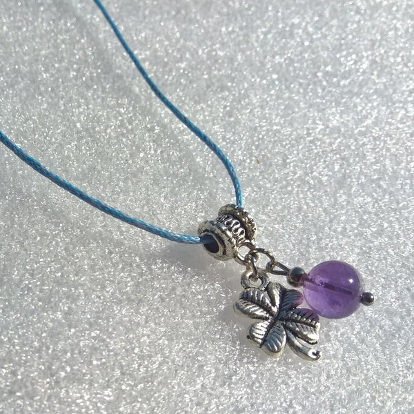 Natural Amethyst Clover necklace, Rope stone necklace woman, Womens charm necklace