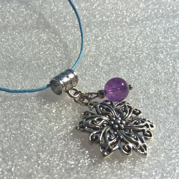 Womens Amethyst rope necklace, stone necklace woman, flower two charms necklace