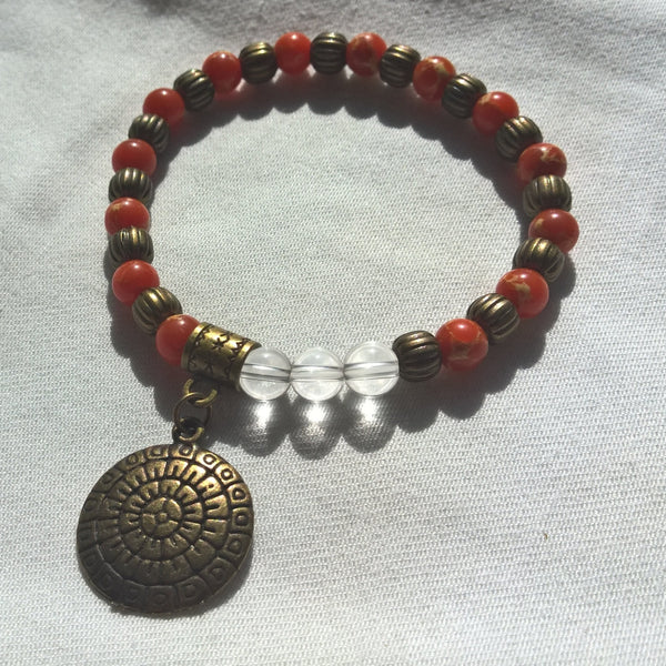 Womens Mandala Stone bracelet, Natural clear Quartz & Sea Sediment stretch bracelet