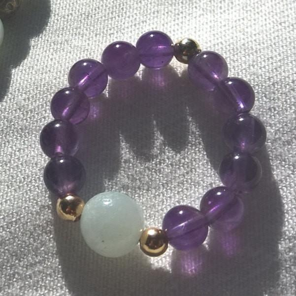 Natural Amethyst & Amazonite ring, Stone ring woman Stretch Boho ring