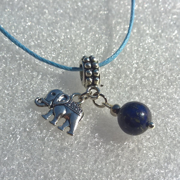 Womens stone necklace, Natural Lapis Lazuli Elephant charm pendant rope necklace