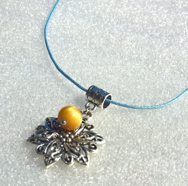 Womens stone necklace, Natural Tigers eye necklace woman, flower two charms necklace