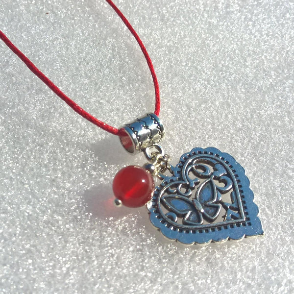 Heart charm necklace woman, Rope stone necklace, Womens Carnelian necklace, agate charm necklace | Healing stone Handmade Jewelry by AnuanA Craft