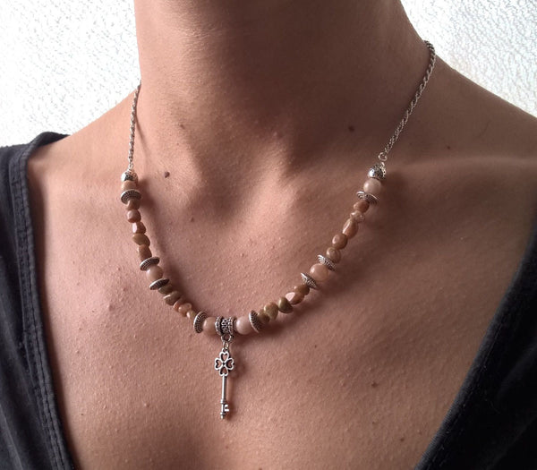 Womens stone necklace, Natural Jasper & Sunstone key pendant necklace, collar or cluster woman