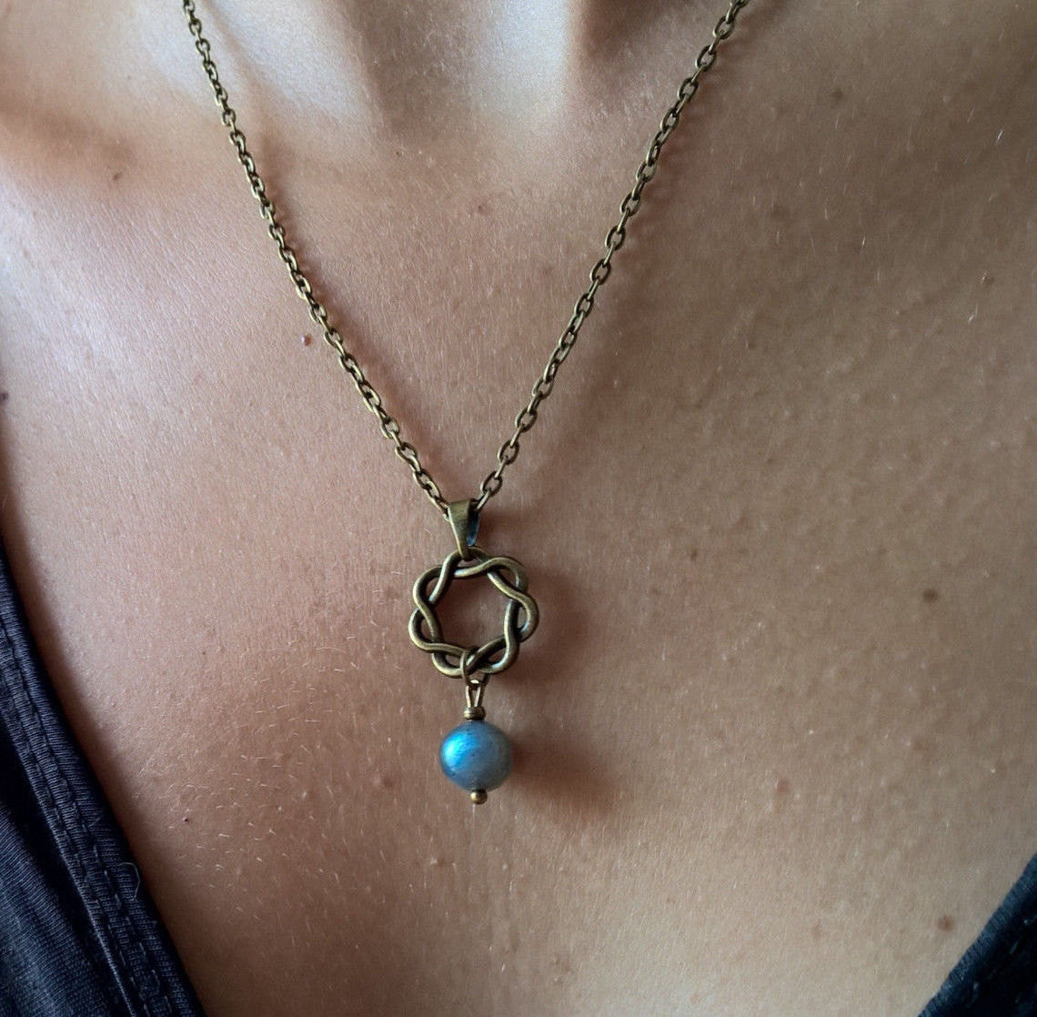 Rainbow Moonstone necklace, Natural stone Infinity necklace, Zen spiritual jewelry