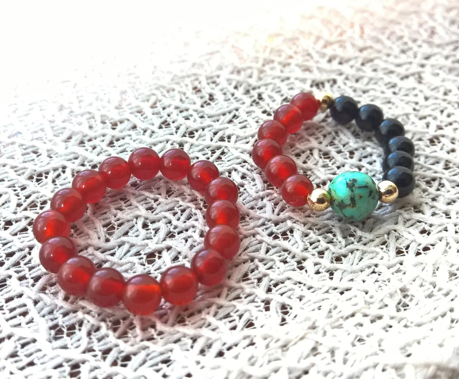 Boho Stone ring SET, Natural Agate & African Turquoise 2 stretch rings, red and black set | Healing stone Handmade Jewelry by AnuanA Craft