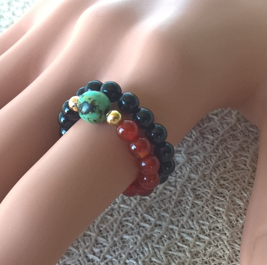 Natural stone ring women, Natural Agate & African Turquoise SET 2 stretch ring, red and black | Healing stone Handmade Jewelry by AnuanA Craft