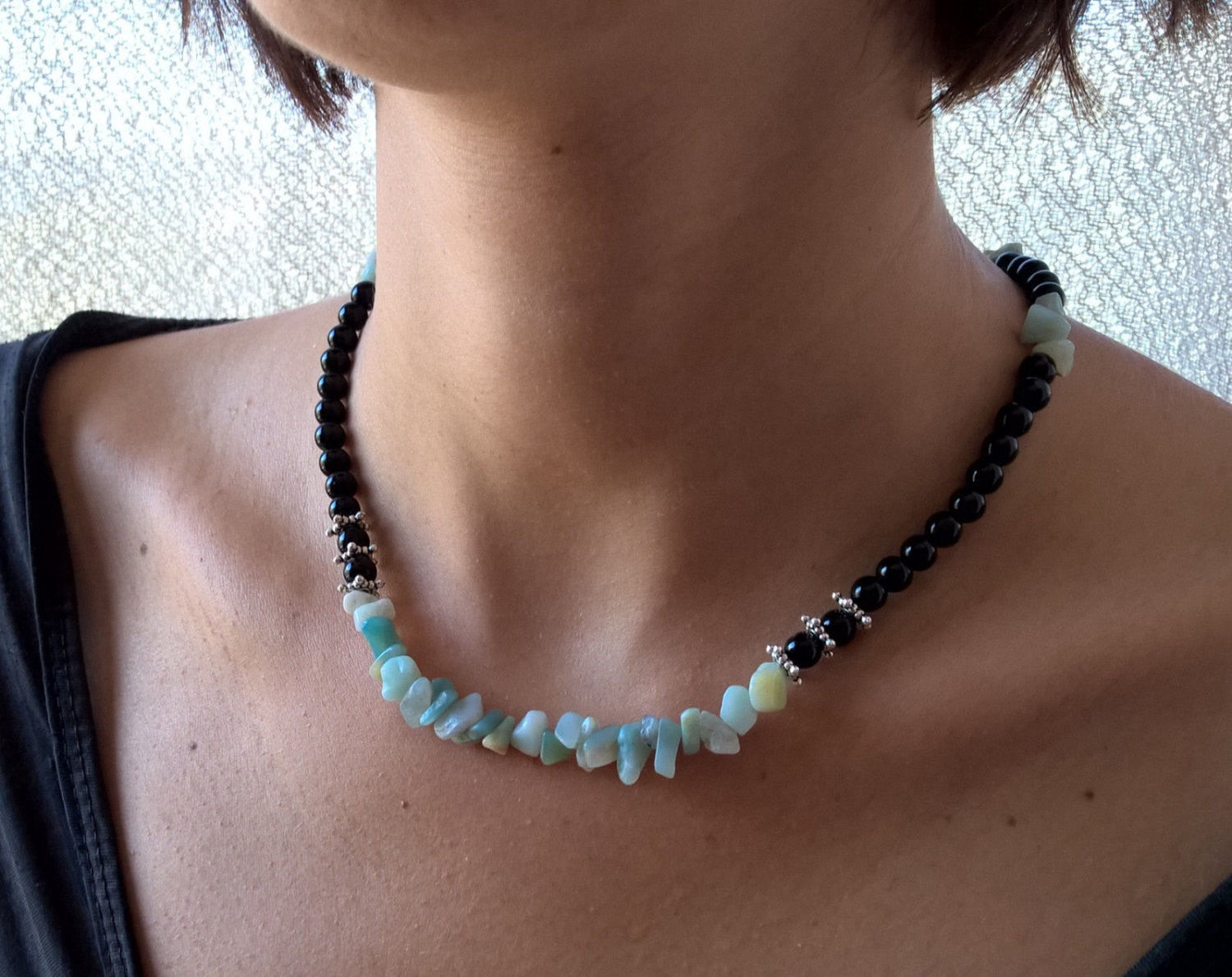 Onyx & Aquamarine collar necklace, Natural stone beaded boho Mala necklace for women