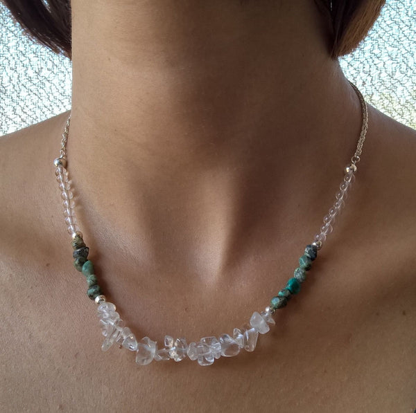 Natural stone collar necklace, African Turquoise & clear Quartz necklace, womens jewelry
