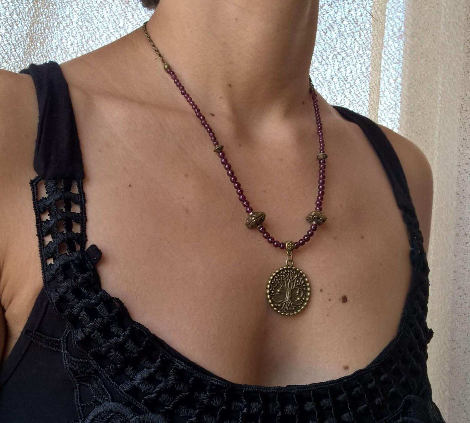Garnet Mala necklace woman, tree of life stone necklace, bohemain necklace womens jewelry | Healing stone Handmade Jewelry by AnuanA Craft
