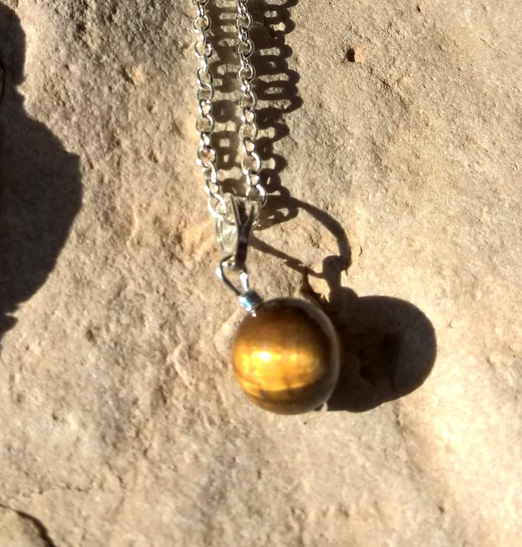 Minimal stone necklace woman, Natural Tigers eye charm necklace, Minimalist jewelry