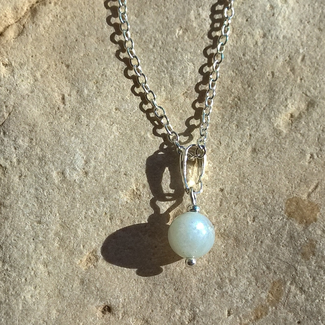Womens Moonstone necklace, tiny stone pendant woman, minimalist casual jewelry
